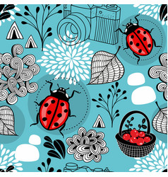 autumn seamless pattern with bugs and berries in vector image
