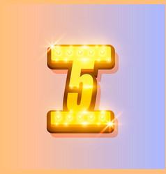 award number 5 banner gold object vector image