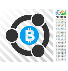Bitcoin collaboration flat icon with bonus vector