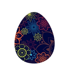Blue Egg With Flower Pattern vector