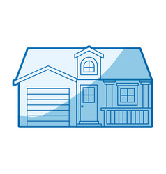 Blue shading silhouette facade house with garage vector