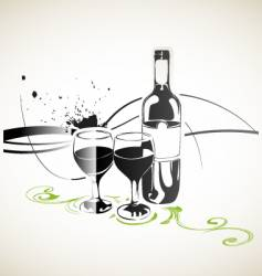 Bottle wine and glasses vector