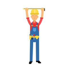 Builder character in overalls with belt with tools vector