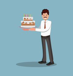 Businessman with a cake at work flat design vector