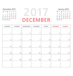 Calendar planner 2017 december week starts monday vector