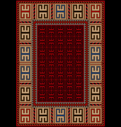 Carpet with ethnic yellow ornament and red middle vector