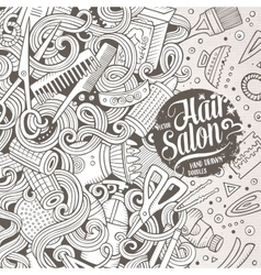 Cartoon cute doodles Hair salon frame design vector