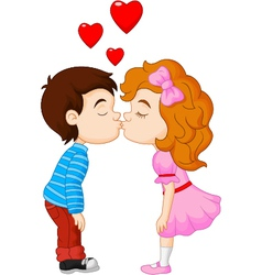 Cartoon little boy kissing a girl vector image
