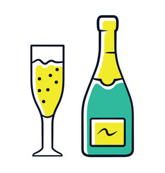 champagne green color icon uncorked bottle and vector image