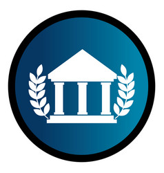 Circular emblem with parthenon and olive branchs vector