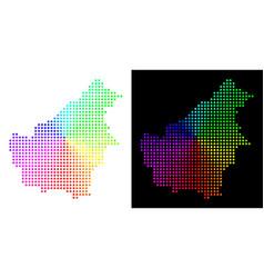 Colored pixelated borneo island map vector