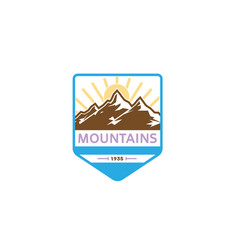creative mountains sunrise logo vector image