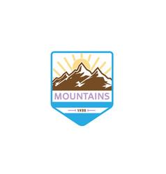 creative mountains sunrise logo vector image