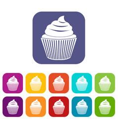 cupcake icons set flat vector image