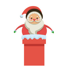 Cute santa claus in chimney christmas character vector