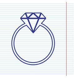 Diamond sign navy line icon vector