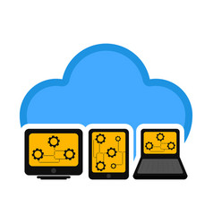 different devices connected to cloud technology vector image