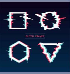 Distorted glitch style modern frame set design vector