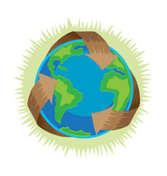 earth day recycle symbol around green planet vector image