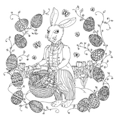 Easter Bunny pfor a coloring book vector image