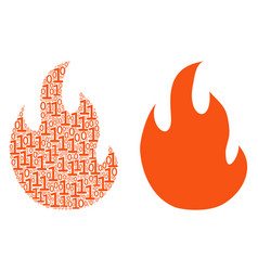 Fire flame composition of binary digits vector