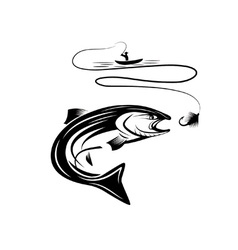 Fisherman in a boat and salmon vector