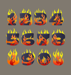 flaming numbers set vector image vector image