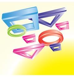flying geometrical figures vector image