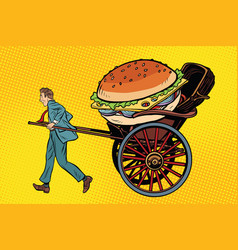 Food delivery rickshaw and cart vector