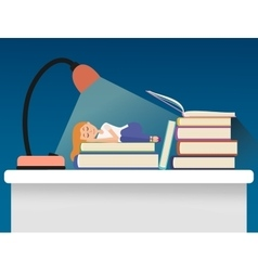 Girl sleeping on books vector