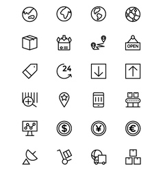 Global logistics line icons 4 vector