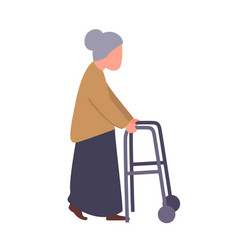 grandma hold walker handle old female patient in vector image