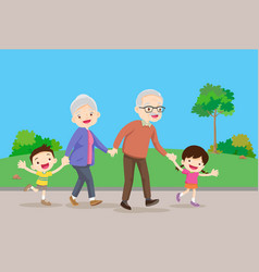 Grandparents with kids are walker in park vector