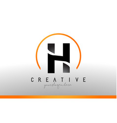 H letter logo design with black orange color cool vector