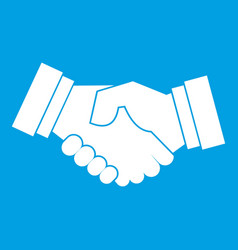 Handshake icon white vector