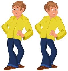 Happy cartoon man standing in yellow shirt vector image