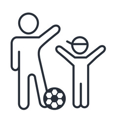 Happy father and son playing with soccer ball vector