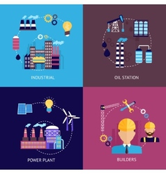 Industrial flat set vector image