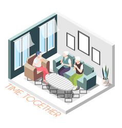isometric time together composition vector image