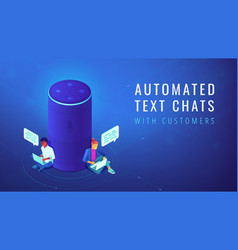 Isometric voice assistant automated text chats vector
