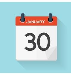 January 30 Calendar Flat Daily Icon vector image