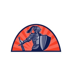 Knight with sword and shield facing side vector image