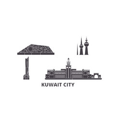 Kuwait kuwait city flat travel skyline set vector