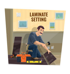 laminate flooring service worker vector image
