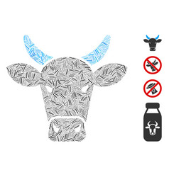 Line cow icon mosaic vector