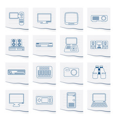 line hi-tech equipment icons on a piece of paper vector image