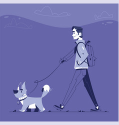 man with dog flat vector image