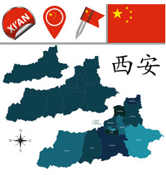 map of xian china with divisions vector image