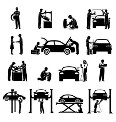 Mechanic Icons Black vector