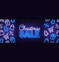merry christmas and happy new year neon banner vector image